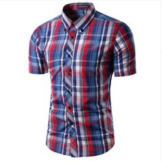 Now available on our store: New Men's Fashion... Check it out here! http://jagmohansabharwal.myshopify.com/products/new-mens-fashion-plaid-short-sleeve-shirt?utm_campaign=social_autopilot&utm_source=pin&utm_medium=pin