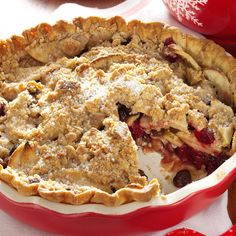 Dutch Cranberry-Apple Pie Recipe -Fresh cranberries bring tongue-tingling tartness and festive Christmas color to classic apple pie. With orange peel, spices and a crumb topping, this is a warm and wintry favorite. —Jerri Gradert, Lincoln, Nebraska
