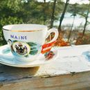Wicked Awesome Maine Vacation RentalsEnjoying my new bargain find...a commemorative teacup celebrating Maine's sesquicentennial in 1970...while waiting for snowflakes. #wickedawesomemaine #machiasport #mainevacation #vacationrentalmaine #whattheheckisasesquicentennial
