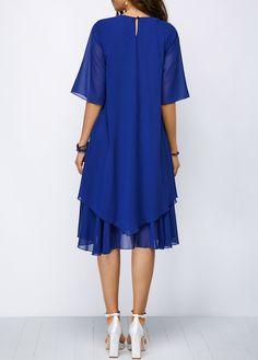 Round Neck Half Sleeve Keyhole Back Chiffon Dress | Rosewe.com - USD $35.78