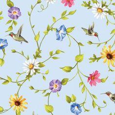 Adalee's Garden Hummingbird Floral Blue