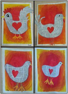 Kindergarten Art Projects, Classroom Art Projects, Art Classroom, Easter Art, Easter Crafts, Primary School Art, 3rd Grade Art, Chicken Art, Newspaper Crafts