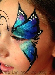 butterfly face paint for halloween Face Painting Tutorials, Face Painting Designs, Paint Designs, Butterfly Face Paint, Butterfly Makeup, Adult Face Painting, Body Painting, Easy Face Painting, Kids Makeup
