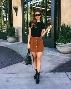 Cord Mini Skirt and Black T-Shirt with Black Boots - Summer 2016