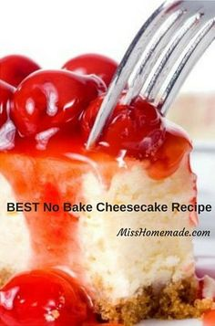 The BEST No Bake Cheesecake Recipe at MissHomemade.com