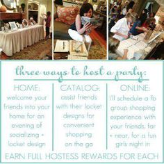 It's easy to host an Origami Owl party! Want  free jewelry?  Email SpecialLockets@aol.com if interested!! Place an order on this website or join our team to earn free jewelry!!  Designer ID# 20788