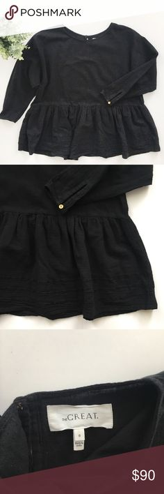 """The Great Black Peplum Swing Blouse The Great from Nordstrom black peplum swing top size 0, or XS.   • 24"""" Long, 20"""" bust • Runs oversized • No stains or holes, smoke and pet free home! Offers welcomed! THE GREAT. Tops Blouses"""