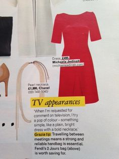 The red Bridget dress by Michaela Jedinak was featured as a dress choice for TV appearances.