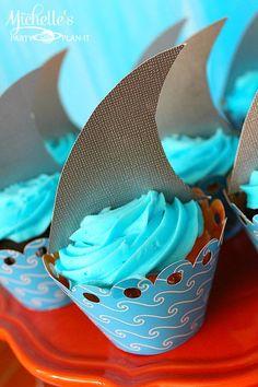 Hello Summer Surf Party via Kara's Party Ideas - shark style cupcakes