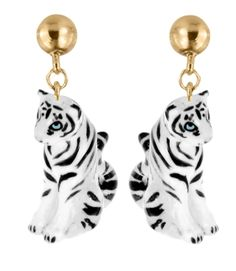 Boucle d'oreille Tigre Blanc