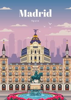 Madrid Travel, Pop Art Wallpaper, Tourism Poster, Abstract City, Travel Illustration, Travel Aesthetic, Vintage Travel Posters, Adventure Is Out There, Destinations