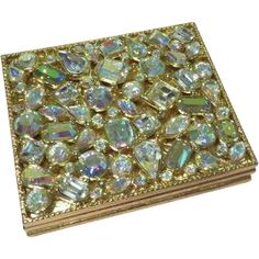 Blinged Out Aurora Borealis Kirks Folly Double Mirror Compact - b63