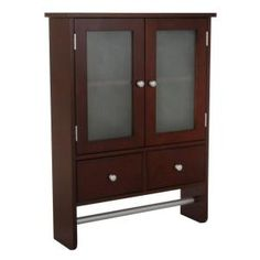 Home Decorators Collection, Amanda 24 in. Wall Cabinet in Dark Brown, 5216510820 at The Home Depot - Mobile Dark Brown Walls, Dark Brown Cabinets, Brown Wood, Cabinet Shelving, Shelves, Frosted Glass Door, Tub Remodel, Mahogany Color, Room Tiles