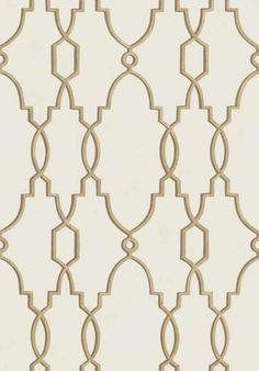 Parterre Trellis Wallpaper A delicate trellis design inspired by the intricate garden designs of 16th and 17th century France in metallic gold on a pale cream background.