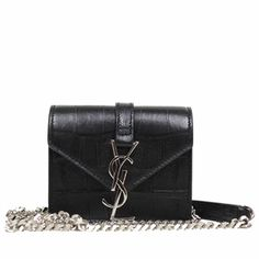 Saint Laurent YSL Candy Monogram Croc Embossed Leather Chain Shoulder Mini Bag 354490 $995