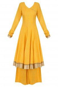Yellow printed anarakali kurta and sharara pants set<br />