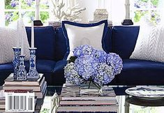 blue and white done to perfection - love the cableknit white pillows