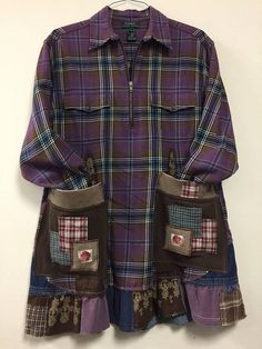 Upcycled Purple and Brown Plaid Flannel Shirt Patchwork