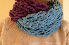 Hand knitting scarf