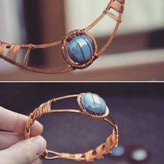 Blue and copper jewelry set necklace and by DotsAndLines89 on Etsy