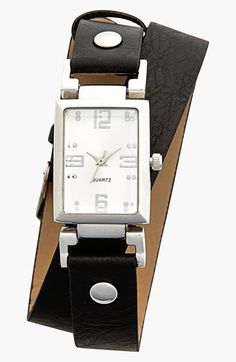Titanium Faux Leather Wrap Watch, 25mm (Juniors) available at #Nordstrom