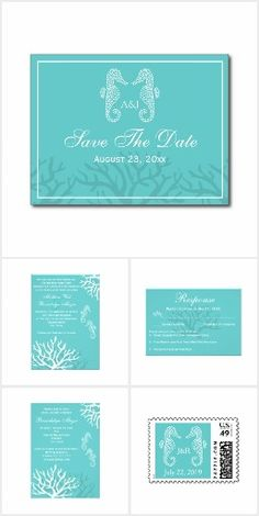 Aqua Seahorse Beach Wedding Invitation Set. These nautical wedding invitation sets / stationary / suites may include: Wedding invitation cards, wedding envelopes, wedding RSVP Cards, wedding address labels, save the dates, wedding programs, wedding thank you cards, rehearsal dinners and more matching wedding products.