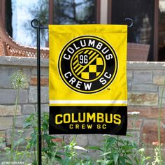 Columbus Crew Garden Flag is inches in size, is made of polyester, and has two sided screen printed logos and lettering. Available with Express Next Day Shipping, our Columbus Crew Garden Flag is MLS Genuine Merchandise and is double sided. Soccer Flags, Mls Soccer, Ohio Flag, Columbus Crew, Welcome Design, Thing 1, 2 Ply, Print Logo, Garden Flags