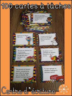 100 cartes à tâches pour le centre d'écriture: textes narratifs, descriptifs, argumentatifs, affiches, marches à suivre etc.
