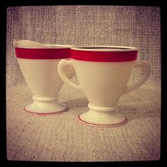 Vintage Milk Glass Cup & Creamer by sparkhausvintage on Etsy, $15.00