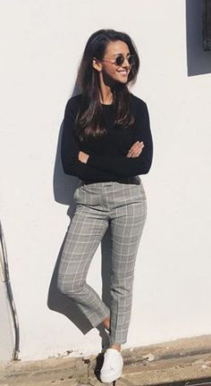 Michelle Keegan posts rare outfit post – and we love her high-street trousers! - New Ideas Checked Trousers Outfit, Checkered Trousers, Plaid Pants Outfit, Trouser Outfits, Grey Trousers, Casual Trouser Outfit, Cigarette Trousers Outfit, Trousers Women Outfit, Trousers Fashion