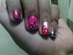 Tri color polkadot nail art using Oriflame Beauty Pure Color Nail Polish series.