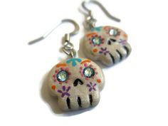 Unique Painted Sugar Skull Earrings  Dia de los by StarfallsAtDusk, $19.95