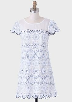 Elise Embroidered Dress at #Ruche @Ruche - Super cute lace and bow detail on the back!!