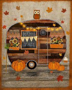 Halloween Cards, Fall Halloween, Halloween Decorations, Halloween Quilts, Halloween Images, Paper Halloween, Halloween Rocks, Halloween Pumpkins, Retro Campers