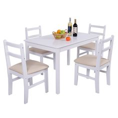 Shop for Costway 5 Pcs Pine Wood Dining Table Set 4 Upholstered Chair Breakfast Kitchen Furniture. Get free delivery On EVERYTHING* Overstock - Your Online Garden & Patio Shop! White Dining Table, Metal Dining Chairs, Kitchen Chairs, Dining Table Chairs, Kitchen Furniture, Side Chairs, Furniture Decor, Room Kitchen, Wooden Furniture