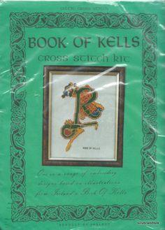 """Irish Cross Stitch Kit Book of Kells Letter Ireland Letter """"R"""" NIP"""