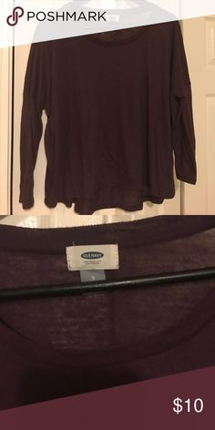 Old Navy top EUC. Hi-low 3/4 sleeve top. Great with a cami underneath.plum color. old navy Tops