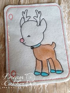 ITH Reindeer Felt Coloring Page Embroidery Design   Dreamcatcher Designs
