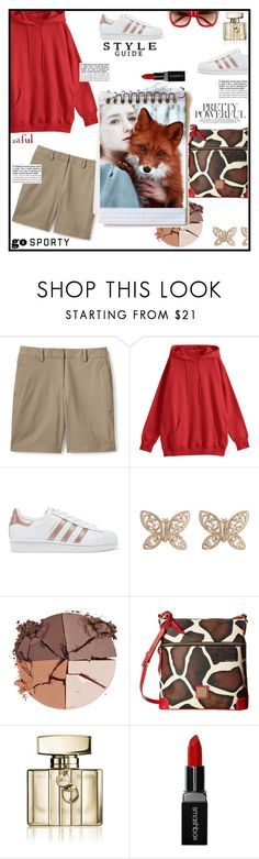 """""""Untitled #1491"""" by sibanesly ❤ liked on Polyvore featuring Lands' End, adidas Originals, Candela, lilah b., Dooney & Bourke, Gucci and Smashbox"""