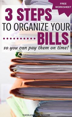 Organizing your paper and finances at home is important. Download the free bill organizing printable so you can start making your payments on time. Finance | Easy | Printable | Organize | Bills | Paper Clutter via @The Budget Mom | Budget Tips, Save Money, Get out of Debt and More!