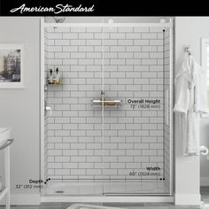 American Standard Passage 32 in. x 60 in. x 72 in. 4-Piece Glue-Up Alcove Shower Wall in White Subway Tile-P2969SWT.375 - The Home Depot White Subway Tile Shower, Subway Tile Showers, White Shower, Shower Inserts, Shower Wall Panels, Subway Tile Patterns, Barn Style Doors, Fiberglass Shower, Frameless Shower Doors