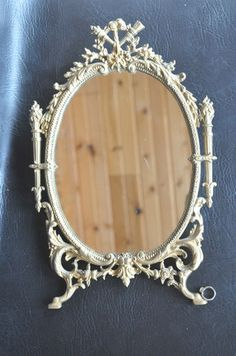 ANTIQUE GILT NATIONAL BRASS & IRON WORKS -BARBOLA ROSE WALL MIRROR