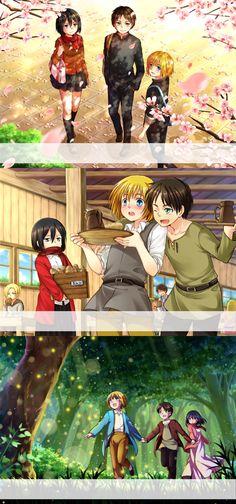 Armin,Eren,Mikasa