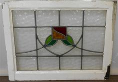 "OLD ENGLISH LEADED STAINED GLASS WINDOW TRANSOM Floral Sweep design 25"" x 19.25"""