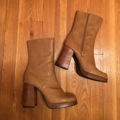 Vintage LEI Chunky Heel Boot Super cute boots! They fit me and I'm a 7.5 usually. Vintage Shoes Platforms
