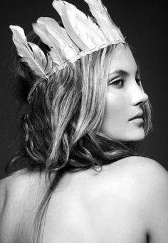 Gorgeous girl with silky skin Feather Crown, Feather Headdress, Feather Headband, Wedding Headdress, Coachella, Portraits, Monochrom, Girl Inspiration, Photoshop
