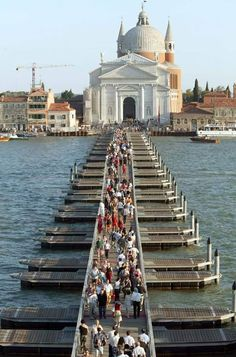 The bridge of boats during the Festa del Redentore, Venice, Italy
