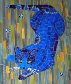 """Blue Cat - 8x10"""", stained glass, millefiori, gold wire for whiskers, by Christine Brallier"""