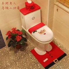 2017 New XMAS Snowman Toilet Seat Cover Rug Bathroom Mat Set