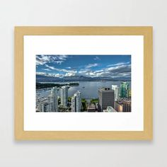 Buy Vancouver Harbor Framed Art Print by alexlyubar. Worldwide shipping available at Society6.com. Just one of millions of high quality products available. #AlexLyubar#FineArtPhotograpny#VancouverCanada#Downtown#Skyscrapers#VancouverHarbour#OceanShips#StenleyPark#MountainRange#CloudySky#ArtForHomt #FineArtPrint